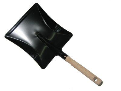 Kehrschaufel Metall Stahlblech schwarz lackiert mit Holzstiel