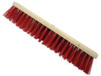 Straßenbesen 500 x 65mm Hartholz  PVC Besatz rot