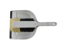 Kehrgarnitur Kunststoff mit Roßhaar Schaufel mit Lippe