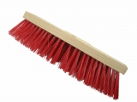 Straßenbesen 400 x 75mm Hartholz  PVC Besatz rot